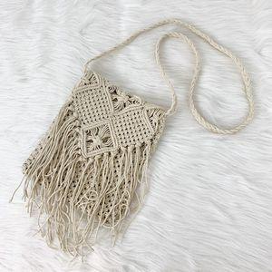 Crochet Handmade Fringe Crossbody Boho Purse